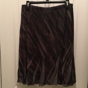 Nearly New Lined Multi Color Slash Pleated Skirt